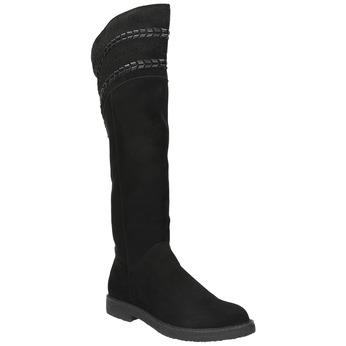 Dámské kozačky nad kolena černé bata, černá, 599-6602 - 13
