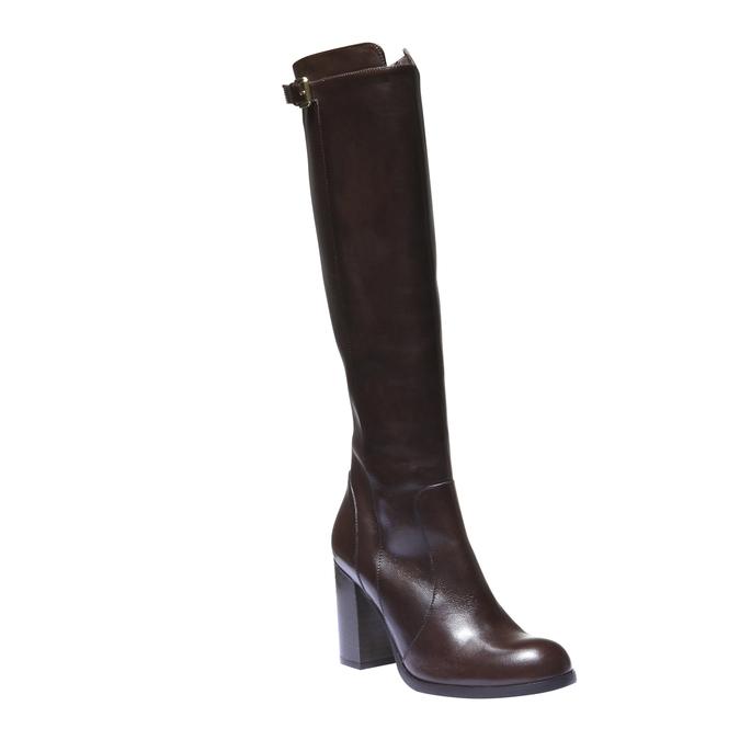 Kožené kozačky na podpatku bata, hnědá, 794-4106 - 13