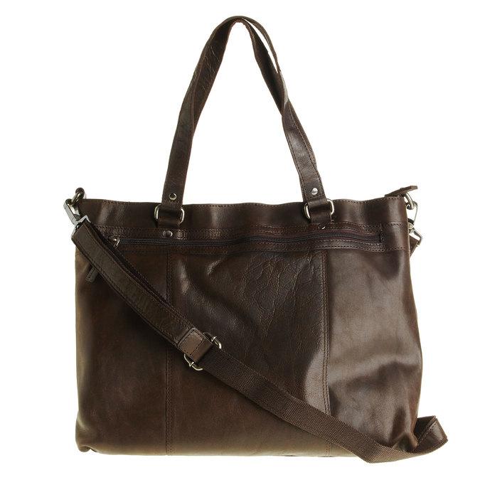 Kožená kabelka s odnímatelným popruhem bata, hnědá, 964-4132 - 26