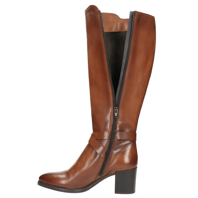 Kožené kozačky na stabilním podpatku bata, hnědá, 696-4615 - 19