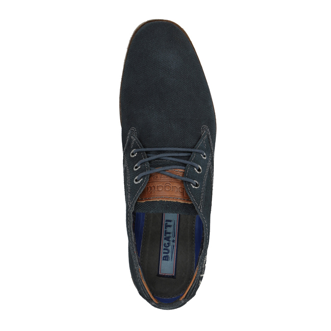 Ležérní kožené polobotky ke kotníkům bugatti, modrá, 826-9009 - 19