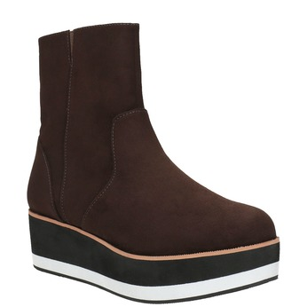 Kotníčková obuv na flatformě bata, hnědá, 699-4601 - 13