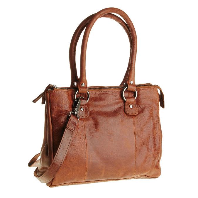 Kožená kabelka s odnímatelným popruhem bata, hnědá, 964-3123 - 13