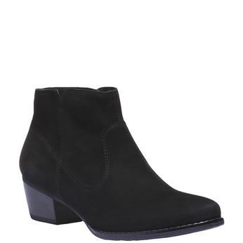Kožená kotníčková obuv na nízkém podpatku bata, černá, 596-6102 - 13
