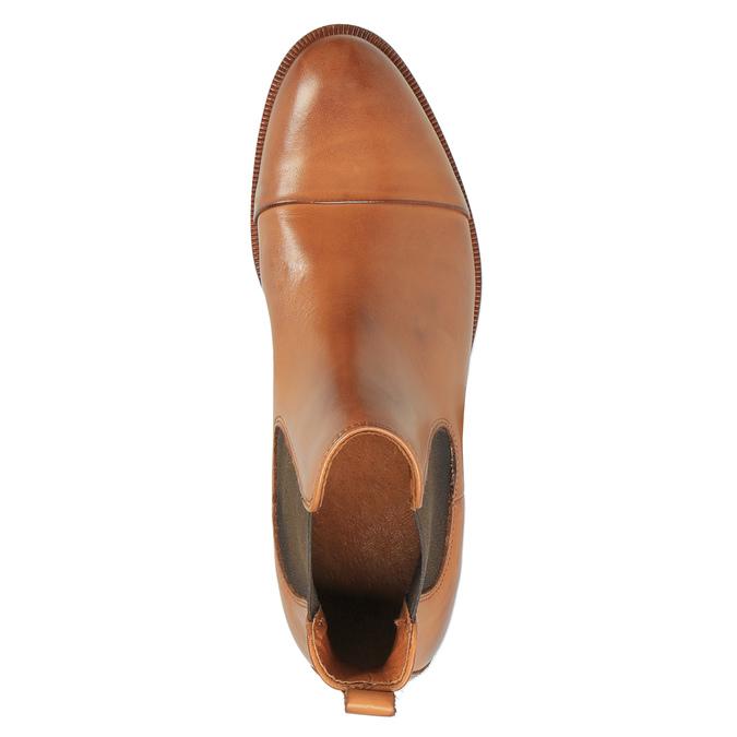 Kožená kotníčková obuv s pružnými boky ten-points, hnědá, 516-3003 - 19