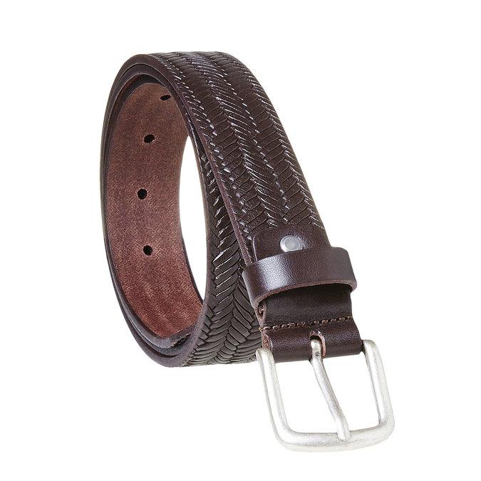 Pánský kožený opasek s propletením bata, hnědá, 954-4158 - 13