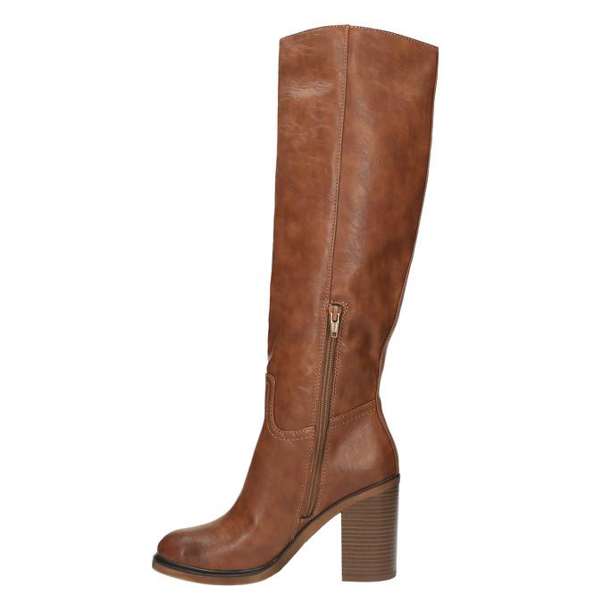 Kozačky na širokém podpatku bata, hnědá, 791-4612 - 19