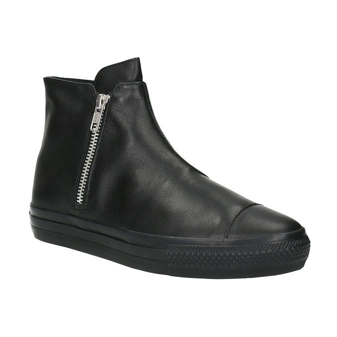 Kožená kotníčková obuv ve sportovním stylu converse, černá, 544-6080 - 13