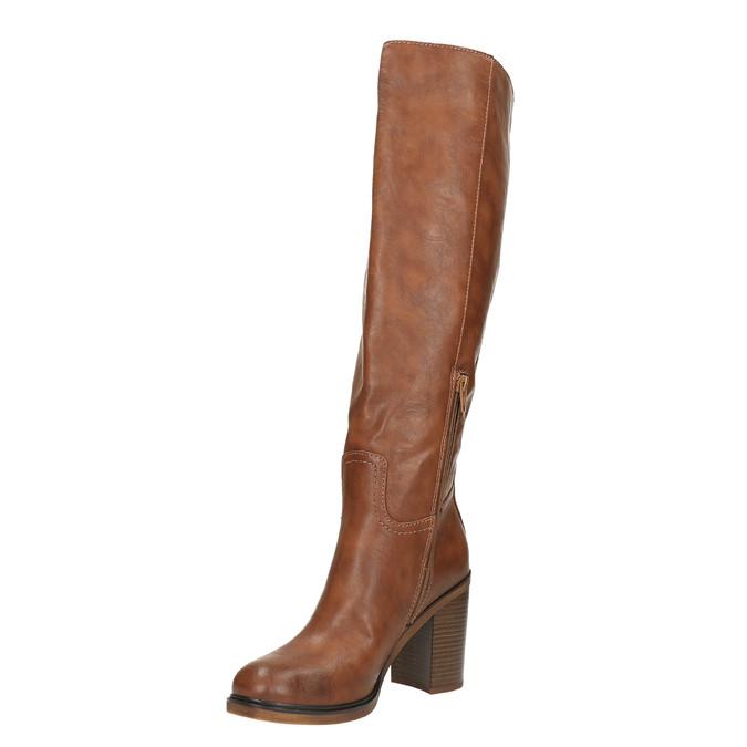 Kozačky na širokém podpatku bata, hnědá, 791-4612 - 26