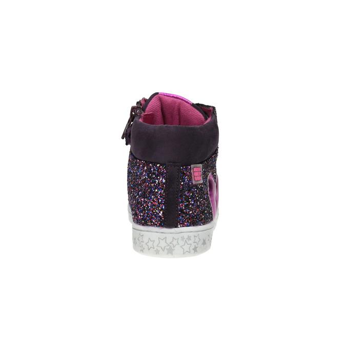 Kožené kotníčkové tenisky se třpytkami, fialová, 226-9009 - 17