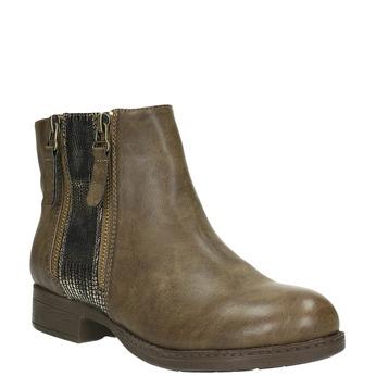 Dámská kotníčková obuv se zipy bata, hnědá, 591-3612 - 13