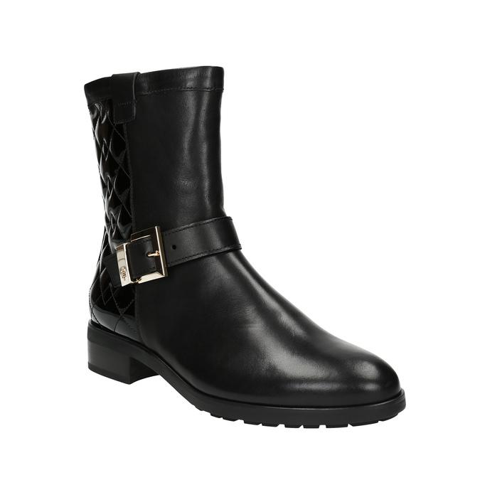 Kožená kotníčková obuv s prošíváním hogl, černá, 694-6012 - 13