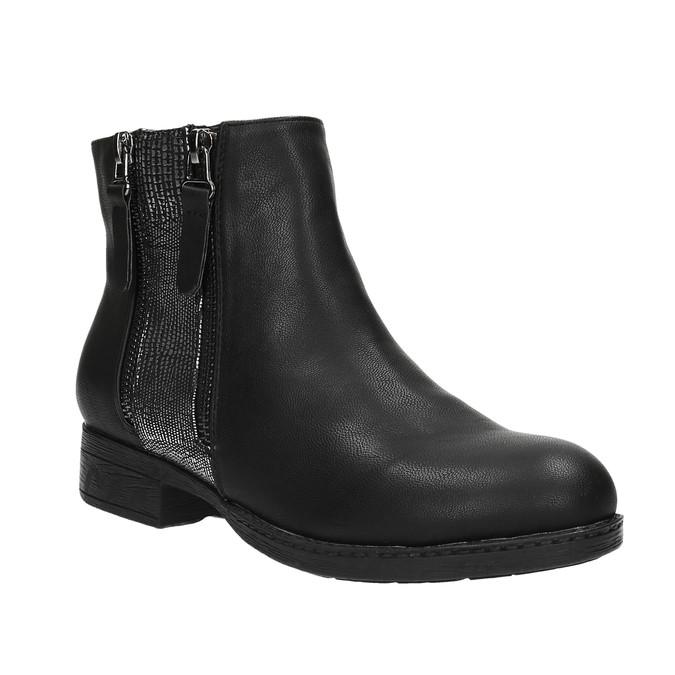 Dámská kotníčková obuv se zipy bata, černá, 591-6612 - 13