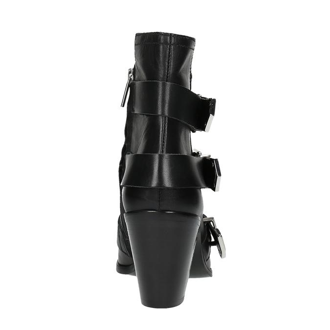 Kožená kotníčková obuv s přezkami diesel, černá, 724-6425 - 17