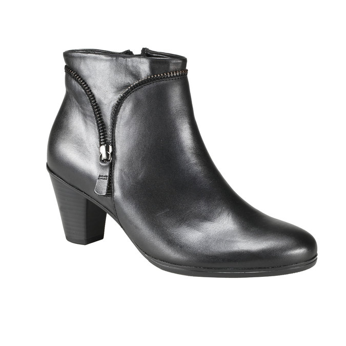 Kožená kotníčková obuv se zipem gabor, černá, 794-6621 - 13