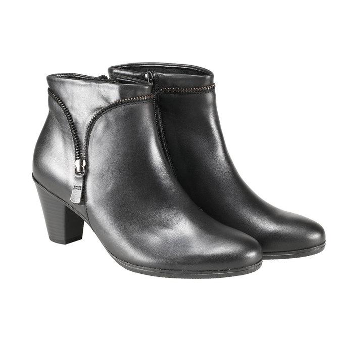 Kožená kotníčková obuv se zipem gabor, černá, 794-6621 - 26