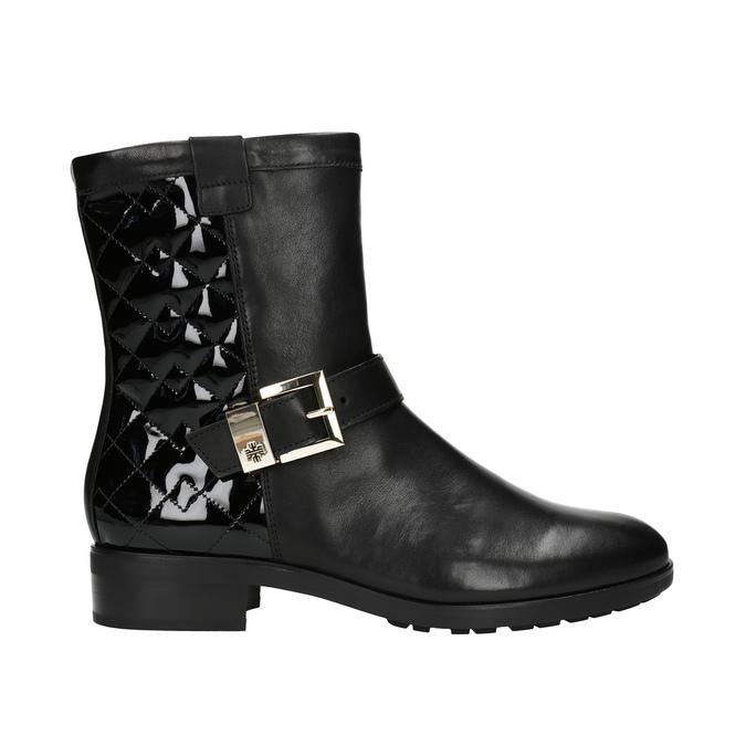 Kožená kotníčková obuv s prošíváním hogl, černá, 694-6012 - 15