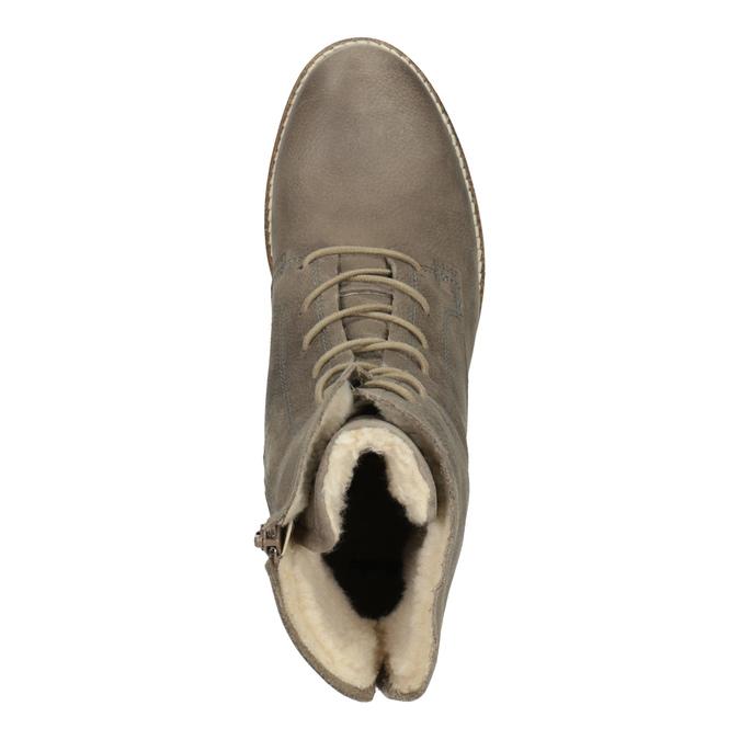 Kožená kotníčková obuv se zateplením bata, šedá, 596-2610 - 19