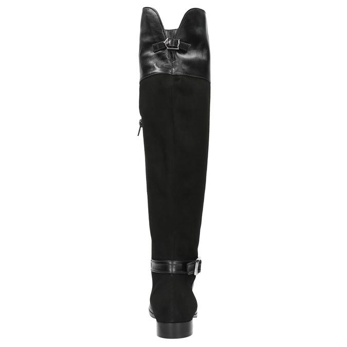 Dámské kožené kozačky mušketýrky classico-and-bellezza, černá, 594-6005 - 17