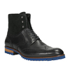 Kožená kotníčková obuv s modrou podešví conhpol, černá, 894-6682 - 13