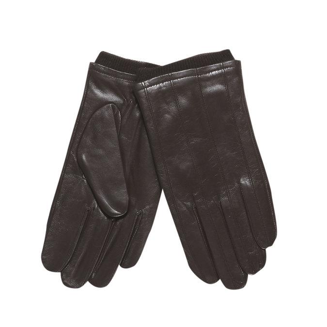 Pánské kožené rukavice s úpletem bata, hnědá, 904-4117 - 13