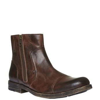 Kožené kotníkové boty se zipem bata, hnědá, 894-4131 - 13