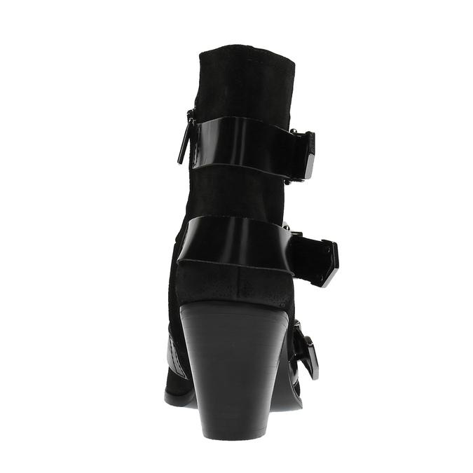 Kožená kotníčková obuv s přezkami diesel, černá, 723-6421 - 17