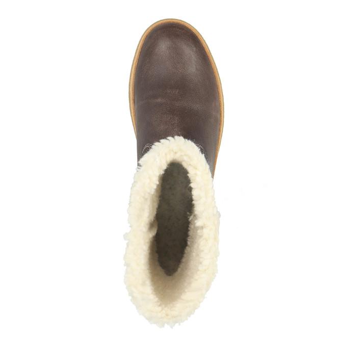 Kožená zimní obuv s kožíškem weinbrenner, hnědá, 596-8628 - 19