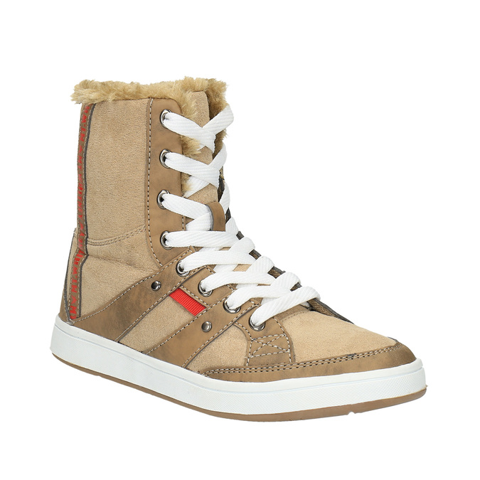 Dámská kotníčková obuv s kožíškem bata, hnědá, 599-4606 - 13