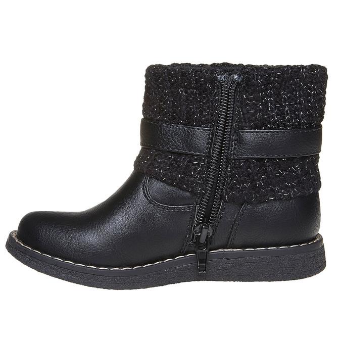 Dětská obuv s úpletem mini-b, černá, 291-6154 - 19