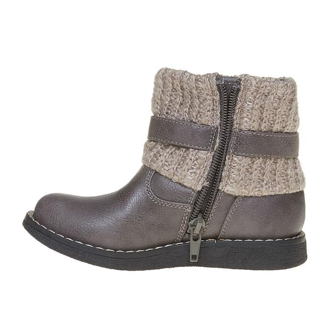 Dětská obuv s pleteným lemem mini-b, šedá, 291-2154 - 19