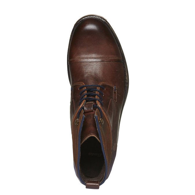 Kožené kotníkového boty šněrovací bata, hnědá, 894-3112 - 19