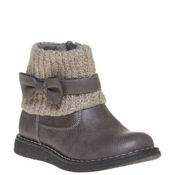 Dětská obuv s pleteným lemem mini-b, šedá, 291-2154 - 13