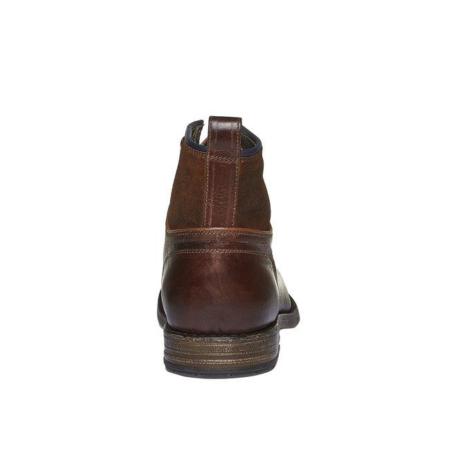 Kožené kotníkového boty šněrovací bata, hnědá, 894-3112 - 17