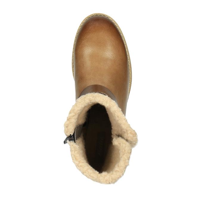 Kožená zimní obuv s kožíškem bata, hnědá, 594-4609 - 19
