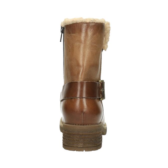 Kožená zimní obuv s kožíškem bata, hnědá, 594-4609 - 17