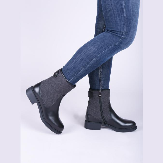 Kožená kotníčková obuv bata, černá, 594-6632 - 14