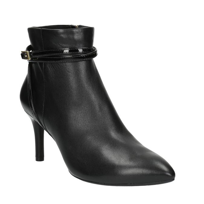 Kožená kotníčková obuv na jehlovém podpatku rockport, černá, 714-6108 - 13