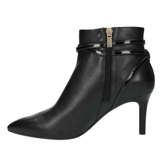 Kožená kotníčková obuv na jehlovém podpatku rockport, černá, 714-6108 - 26