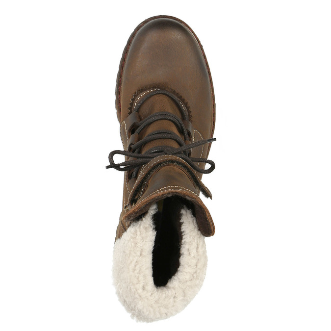 Dámská kožená zimní obuv manas, hnědá, 596-4602 - 19