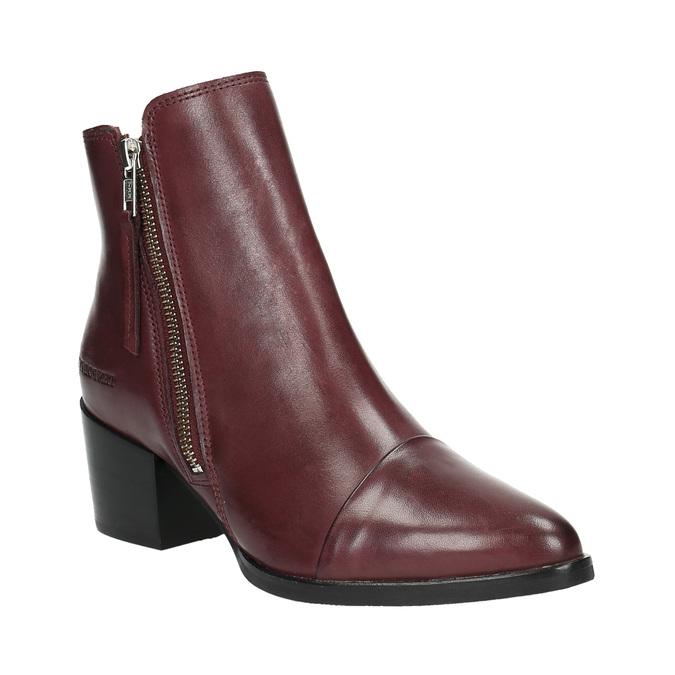 Kožená kotníčková obuv se zipem ten-points, červená, 714-5001 - 13