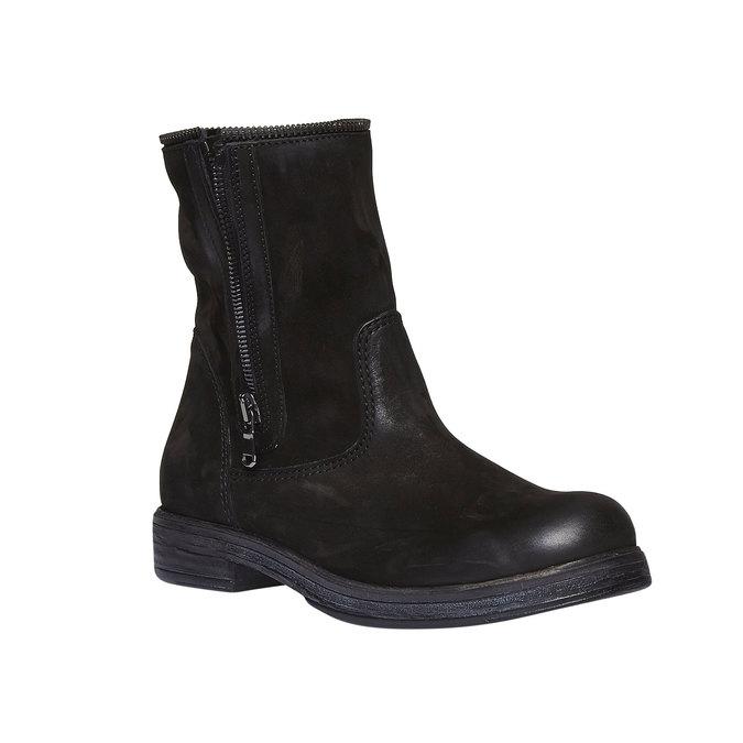 Kožené kotníkové kozačky se zipem bata, černá, 594-6535 - 13