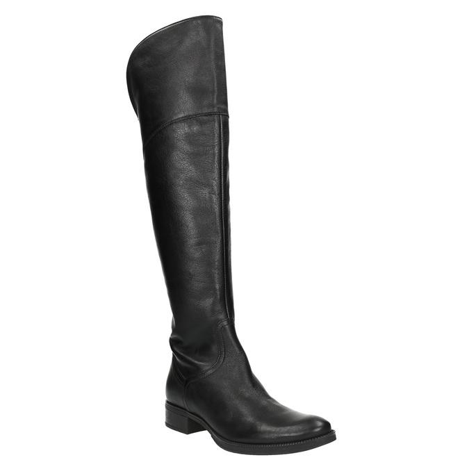 Dámské kožené kozačky nad kolena geox, černá, 594-6036 - 13