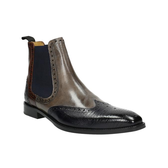 Kožené Chelsea Boots s Brogue zdobením, hnědá, 894-3009 - 13