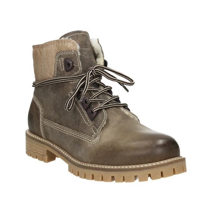 Kožená zimní obuv s kožíškem weinbrenner, šedá, 594-2491 - 13