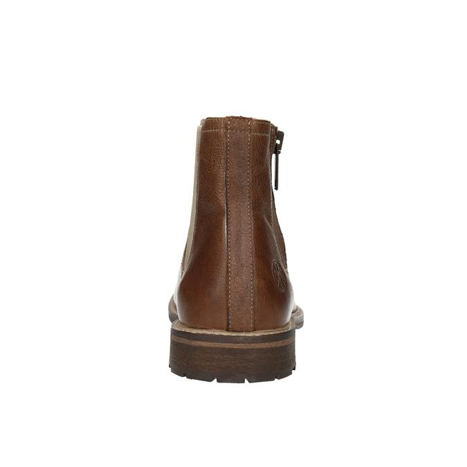 Kožená kotníčková obuv s ozdobným zipem bata, hnědá, 896-3654 - 17