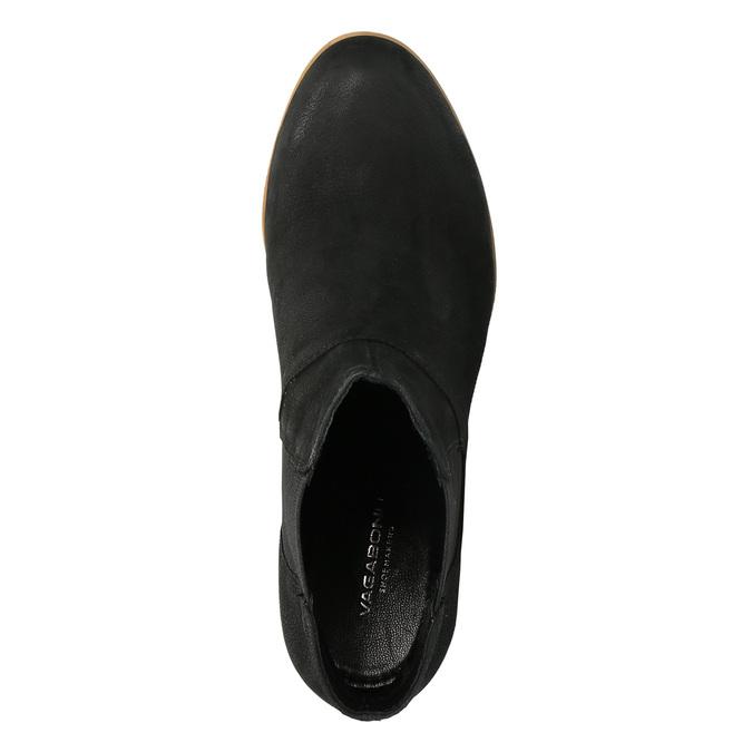 Kožené kotníčkové kozačky s pružnými boky vagabond, černá, 796-6006 - 19