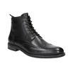 Kožená kotníčková obuv s Brogue zdobením vagabond, černá, 894-6003 - 13