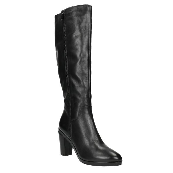 Dámské kožené kozačky na podpatku bata, černá, 694-6633 - 13