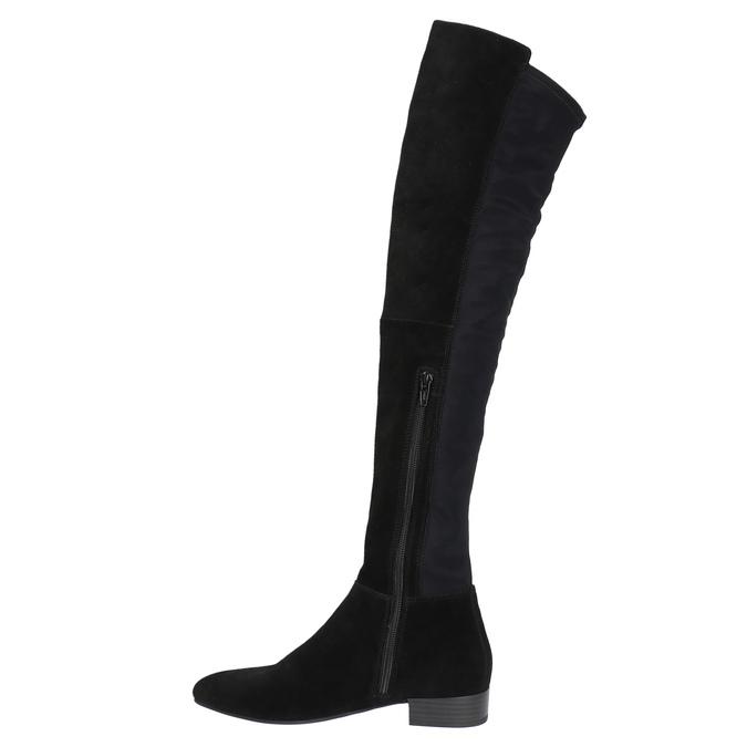 Kožené kozačky nad kolena vagabond, černá, 594-6013 - 19